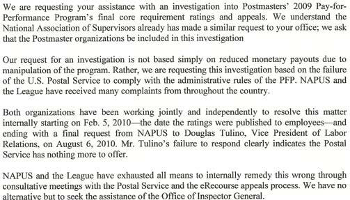 Postmasters letter to OIG