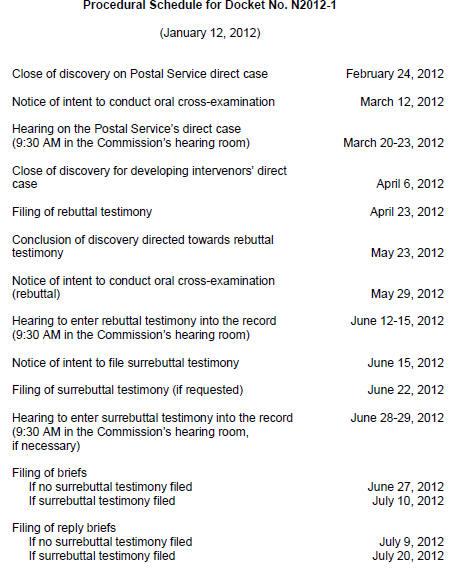 PRC Advisory Schedule
